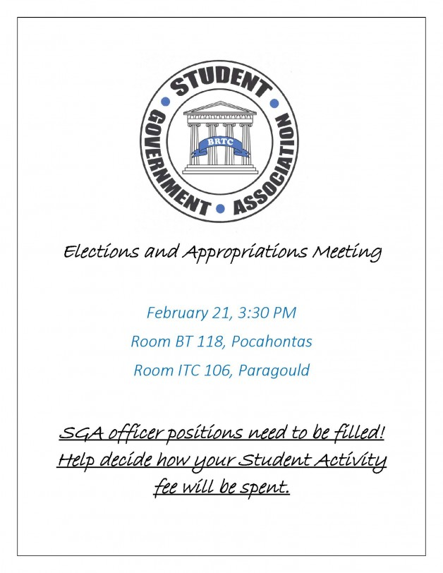 SGA Elections and Appropriations Meeting