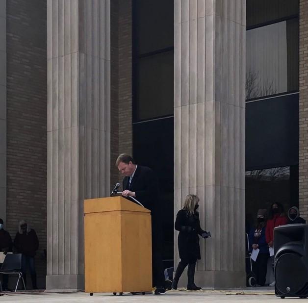 Dr. Brad Baine, BRTC's Vice President for Academic Affairs, and Jason Smith, BRTC's Vice President of Student Affairs, Speak at Randolph County's MLK Day Celebration